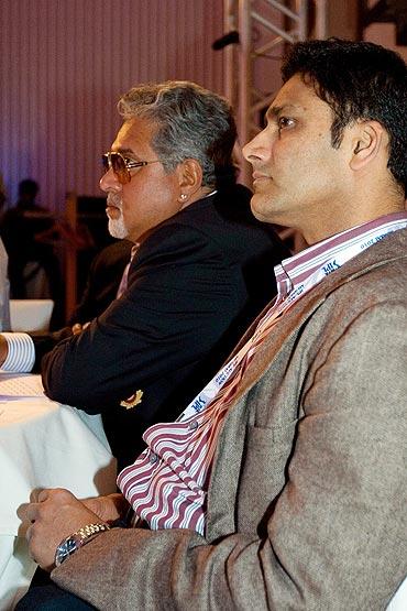 Anil Kumble with RCB owner Vijay Mallya