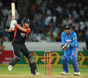 Alastrair Cook hits a boundary during his knock against India