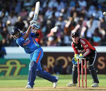 Virat Kohli plays a shot during his knock