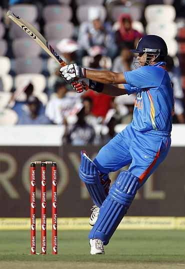 Suresh Raina plays a pull shot