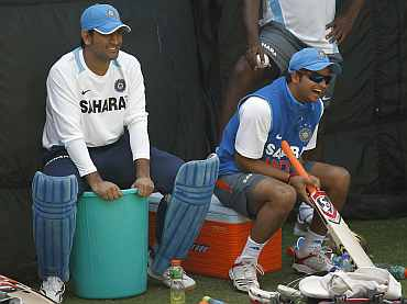 MS Dhoni and Suresh Raina during a practice se
