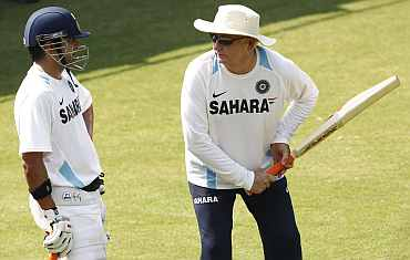 Gautam Gambhir speaks to coach Duncan Fletcher