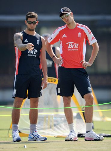 Steven Finn and Jade Dernbach during Wednesday's practice at Mohali