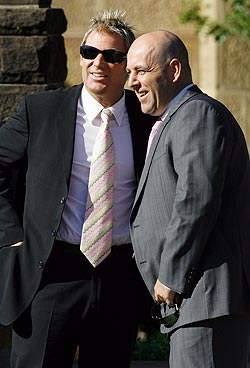 Shane Warne (left) with Darren Lehmann