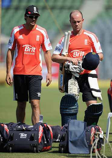 Johanathan Trott and Alastair Cook during a practice session at Wankhede