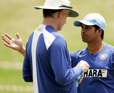 Greg Chappell (left) with Sachin Tendulkar