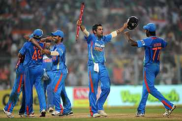 Indian team celebrates after winning the match against England