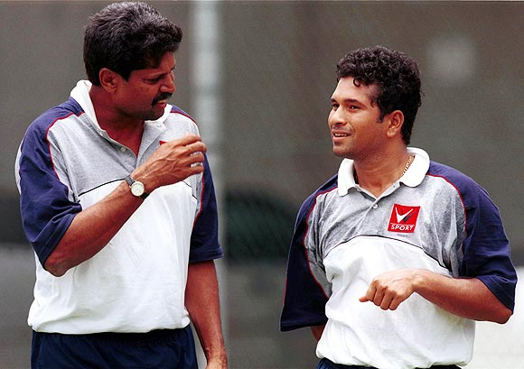 Sachin Tendulkar with Kapil Dev