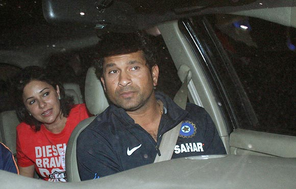 Sachin Tendulkar with wife Anjali.