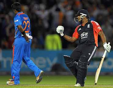 Samit Patel celebrates after winning the Twenty20 against India