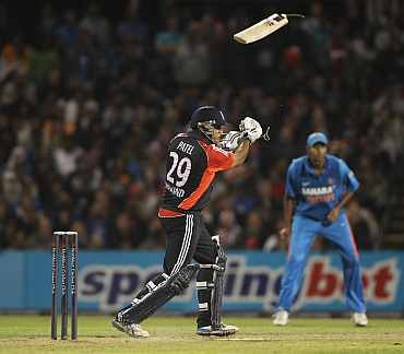 Samit Patel of England breaks his bat during the NatWest International Twenty20 Match between England and India