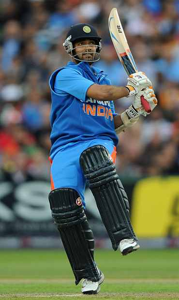 Ajinkya Rahane in action during the Twenty20 match