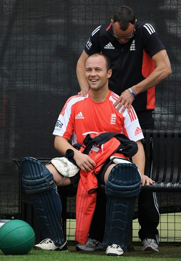 Jonathan Trott of England has treatment from team masseur Mark Saxby