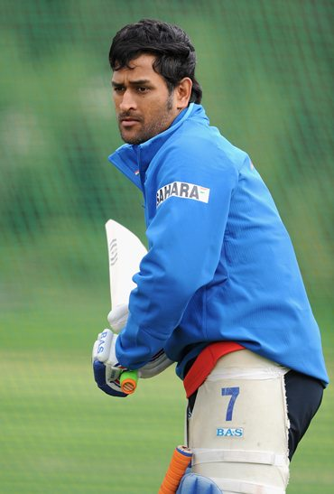 Dhoni gets some batting practice in the nets