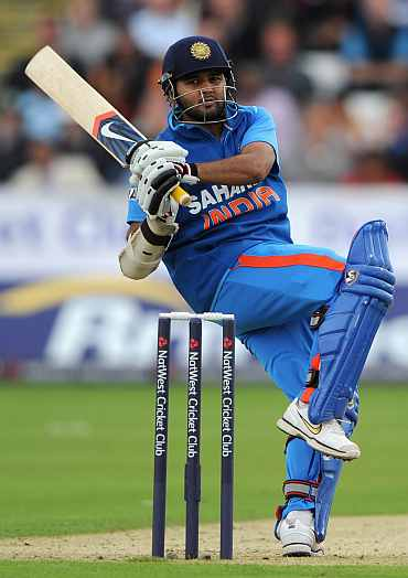 Parthiv Patel plays a pull shot during his knock against England