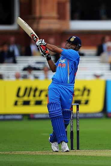 Suresh Raina in action against England