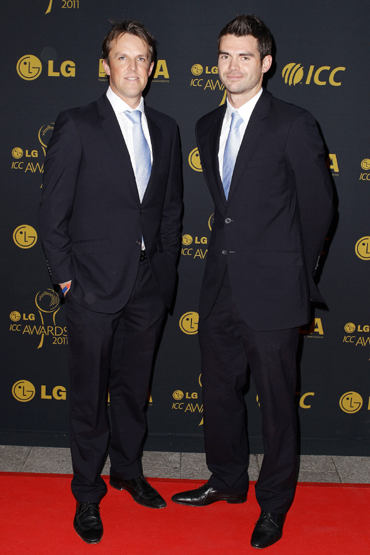 Graeme Swann (left) and James Anderson of England arrive for the LG ICC Awards at The Grosvenor House Hotel