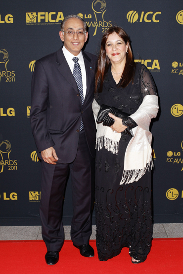 Haroon Lorgat, Chief Executive Officer of the International Cricket Council and Farah Lorgat arrive for the LG ICC Awards at The Grosvenor House Hotel