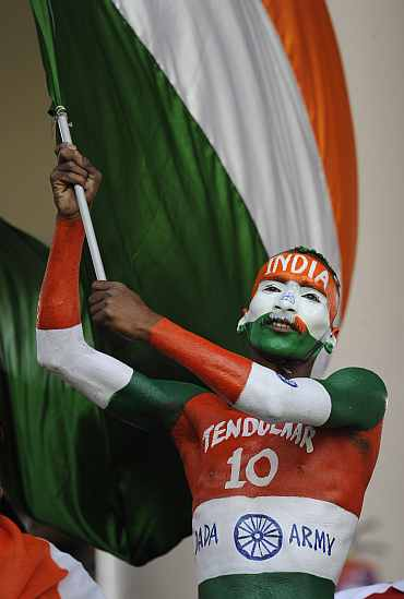 Indian fan with the flag
