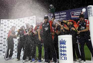 England players celebrate after winning the ODI series against India
