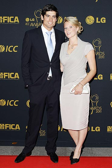 Alastair Cook and his girlfriend Alice Hunt arrive for the ICC Awards