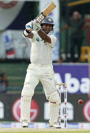 Sri Lanka's Kumar Sangakkara plays a shot during the second day of their third Test against Australia in Colombo on Saturday