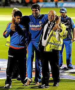 Munaf Patel after injuring himself