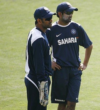 India captain MS Dhoni (left) with Gautam Gambhir
