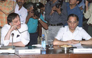 Mansur Ali Khan Pataudi (left) wth former BCCI president Jagmohan Dalmiya