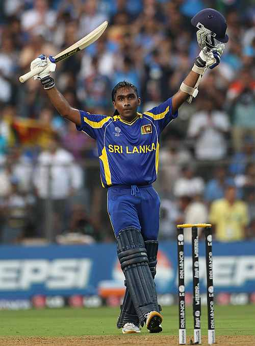 Mahela Jayawardene celebrates after making a century in the World Cup final