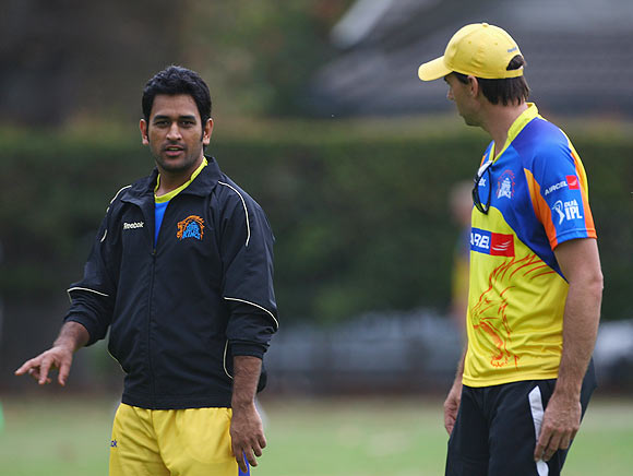 Chennai Super Kings' captain MS Dhoni with coach Stephen Fleming