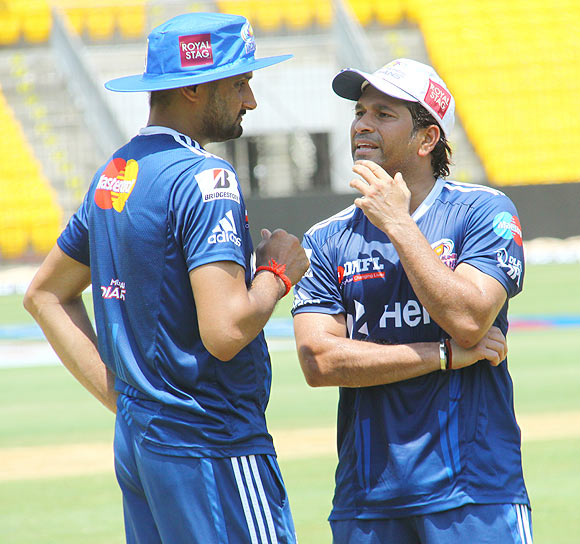 Harbhajan Singh with Sachin Tendulkar