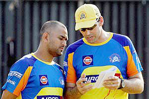 CSK's captain MS Dhoni with coach Stephen Felming