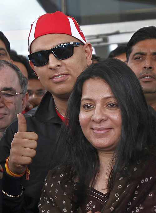 Yuvraj Singh arrives at the Indira Gandhi International Airport in New Delhi