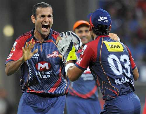 Irfan Pathan celebrates the fall of a wicket