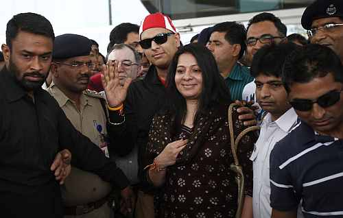 Yuvraj Singh arrives at the Indira Gandhi International Airport in New Delhi