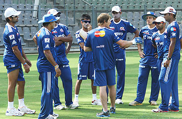 Jonty Rhodes at a training session with the Mumbai Indians team