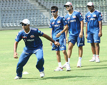 Mumbai Indians players at a training session