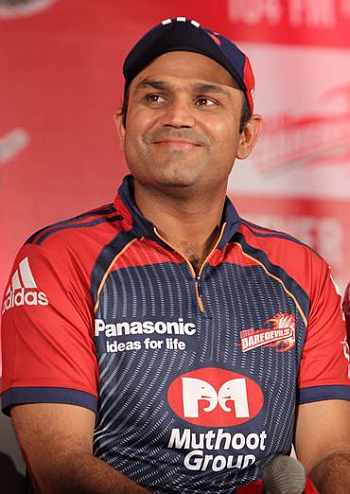 The 39-year old son of father  Krishan and mother  Krishna Sehwag, 170 cm tall Virender Sehwag in 2018 photo