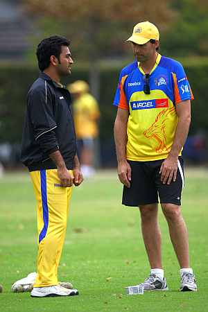 MS Dhoni with coach Stephen Fleming