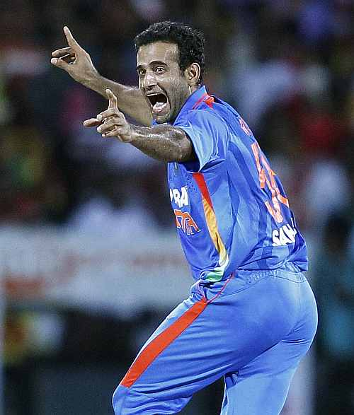 India's Irfan Pathan celebrates taking the wicket of Sri Lanka's captain Jayawardene during the Twenty20 match in Pallekele