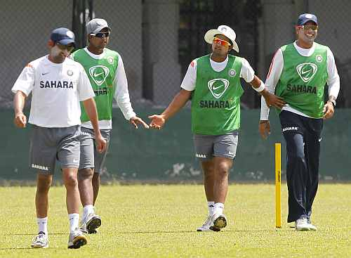 VVS Laxman with teammates