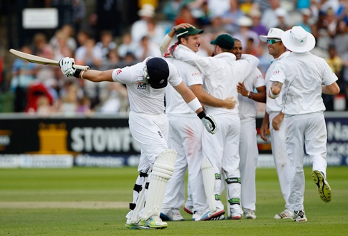 Matt Prior of England walks off after his dismissal