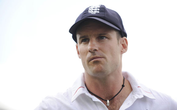 England's captain Andrew Strauss waits to be interviewed after South Africa defeated England in the third cricket Test match at Lord's in London