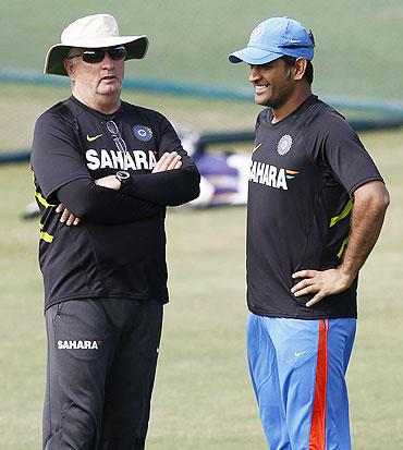 Dhoni with coach Duncan Fletcher