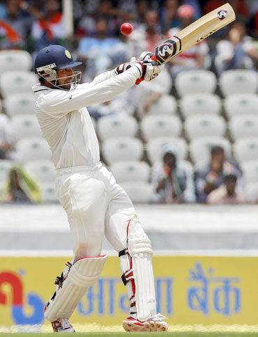Cheteshwar Pujara plays a shot during the first day