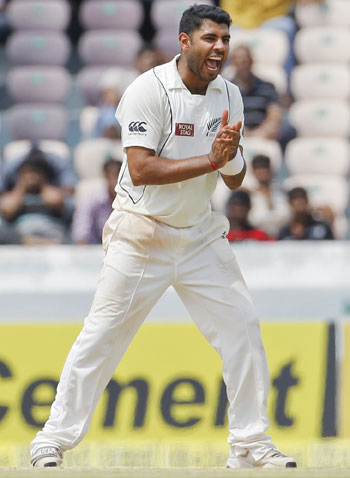 New Zealand's Jeetan Patel celebrates after dismissing India's Ravichandran Ashwin