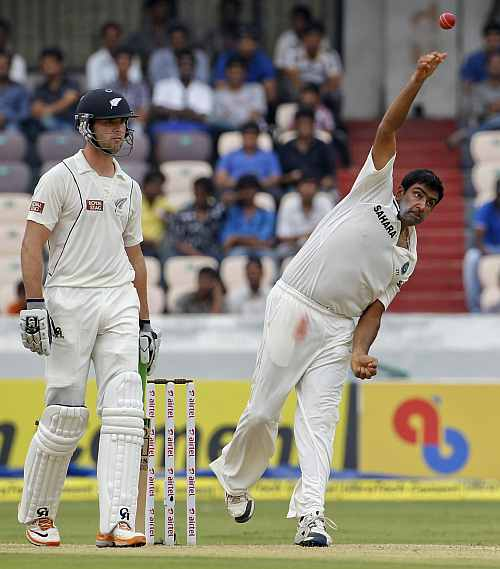 India's R Ashwin bowls in the first innings during the third day of their first Test against New Zealand