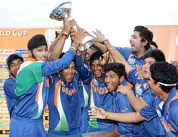 Indian players celebrate after winning the U-19 World Cup