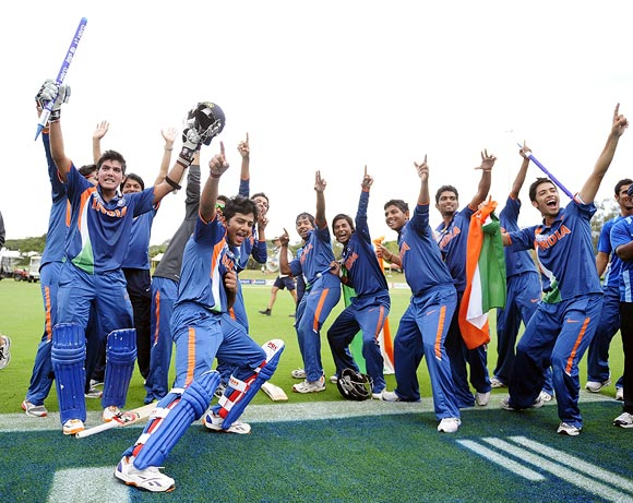 The Indian team celebrate winning the 2012 ICC U19 Cricket World Cup